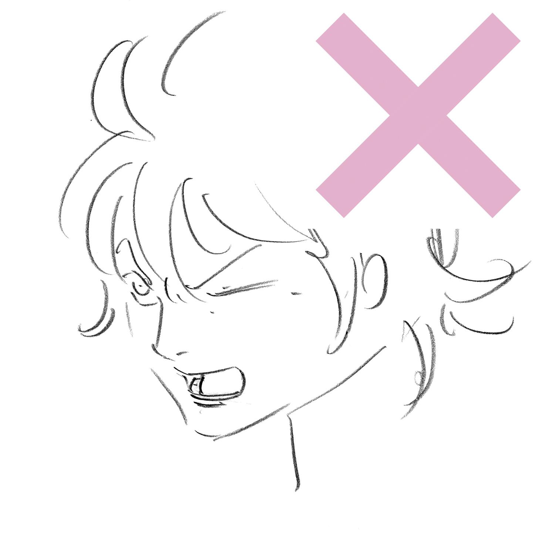 表情を考えて顔を描く アニメキャラクターの作画デザイン