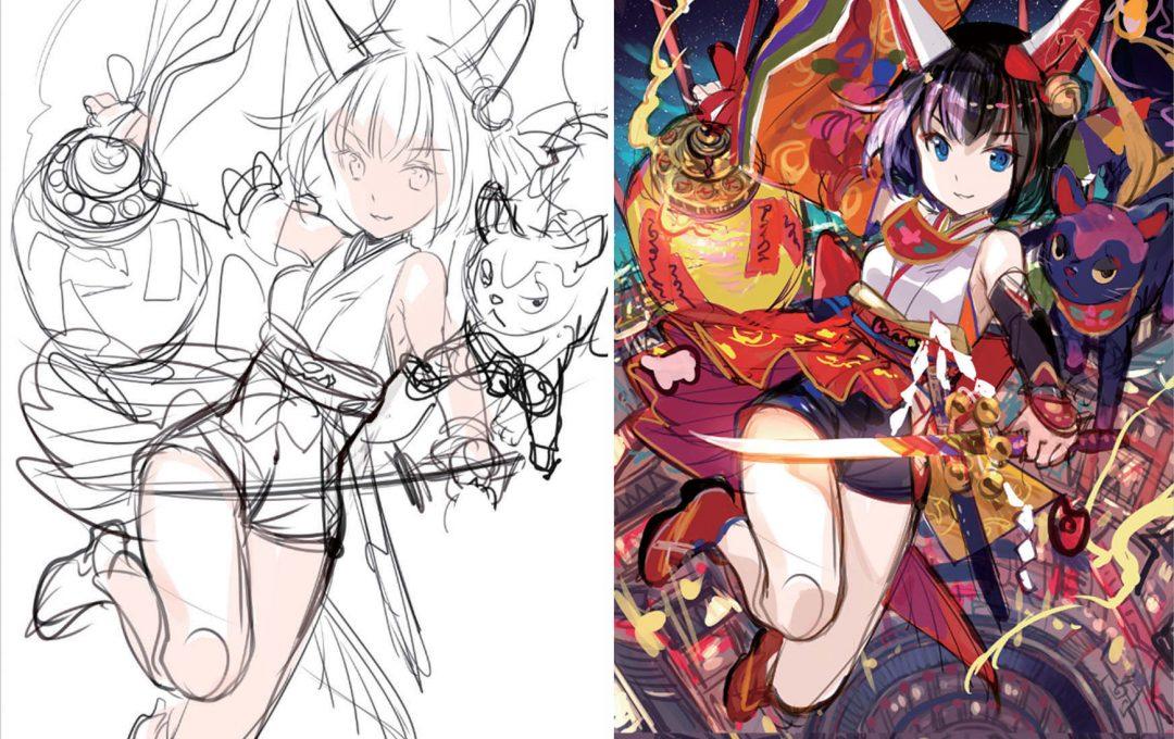 メインキャラクターと背景のラフを描くプロセス〜完成のイメージは色の作り込みから〜