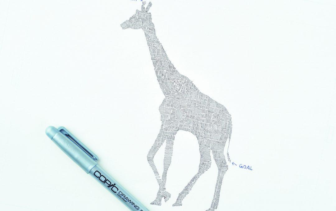 描いてるところを見てみたい。「一筆書き」のキリン