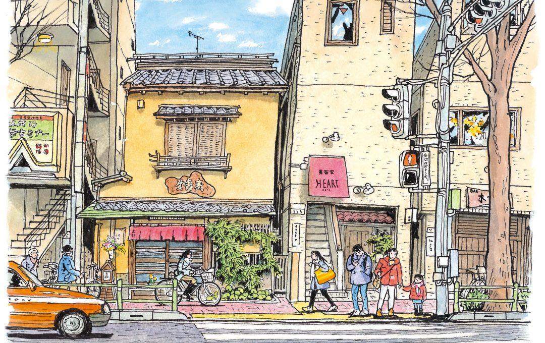 いつもの散歩コース、吉祥寺公園通りを描く
