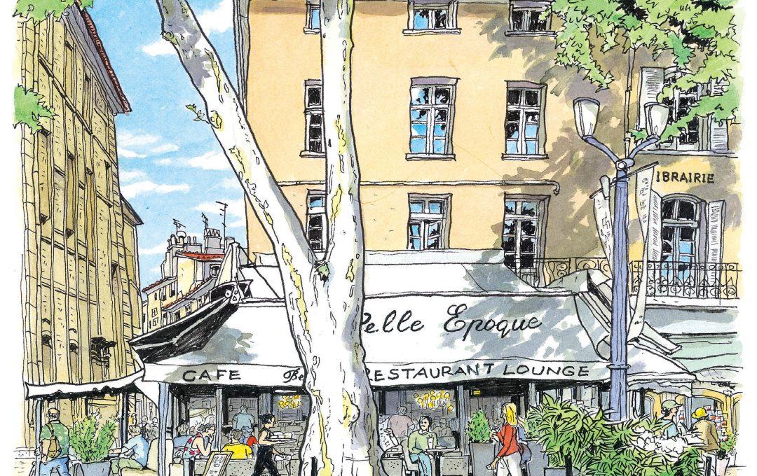 街歩きスケッチ 南フランスの気になるカフェを描く