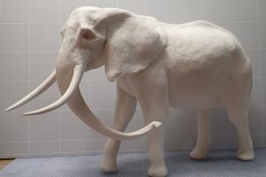 粘土造形スーパーテクニック アフリカゾウの全体の完成〜頭部と尻尾を組み込む