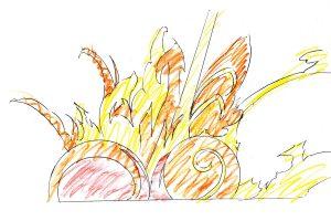 強くデフォルメされた「派手な爆発」の描き方