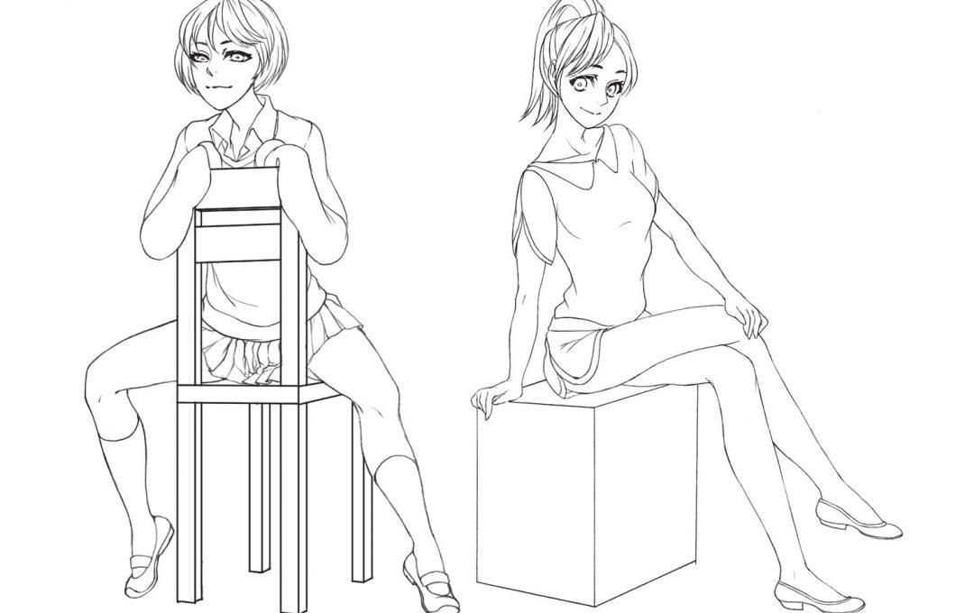 女性キャラクターイラストのポージングの極意「座る」ことで変化する筋肉の動きに注意しよう