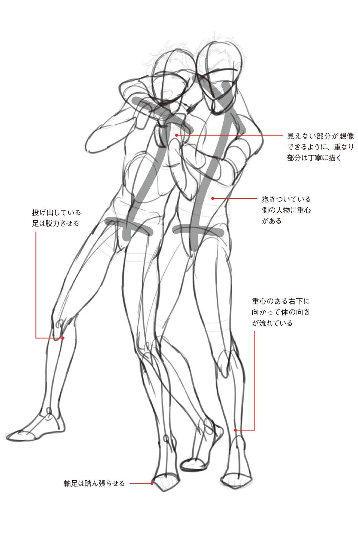男性キャラのポージングの描き方 2人を絡めたポーズで連動感を出すコツは 接触している位置から描く 動きのあるポーズの描き方 男性キャラクター編 第2回 Pictures