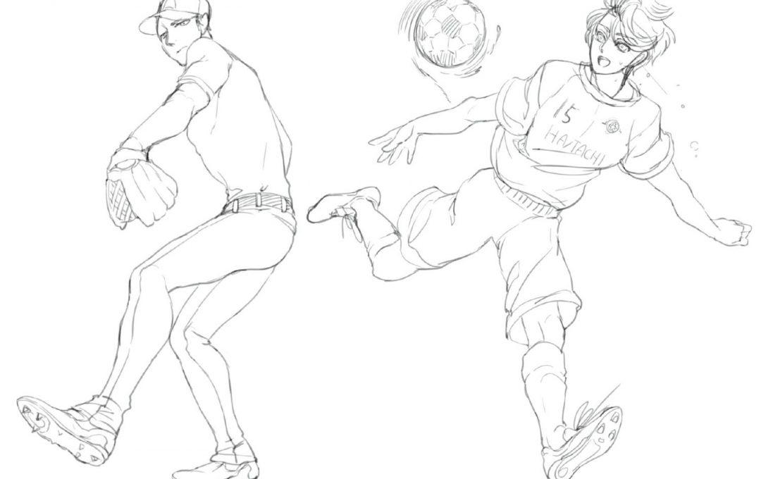 ☆動きのあるポーズの描き方☆スポーツマンの躍動感は髪の動きやユニフォームのシワで表現。細かいシワは適宜省略!