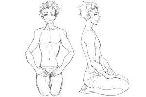 男性キャラのポージングのコツ〜「床に座る」ポーズは、股関節と膝関節の動きで自然に見せる