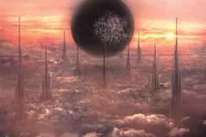 都市の上空に浮遊する巨大物の存在感を表現する光と影、パースの使い方