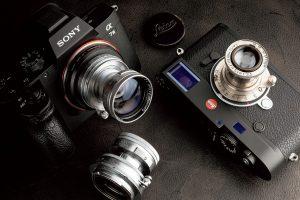玄人好みの沈胴フォルム Tessar 5cmF2.8。装着時は取り扱いに注意